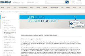 Karstadt bewirbt das Click&Collect-Prinzip u.a. mit Einkaufsrabatten