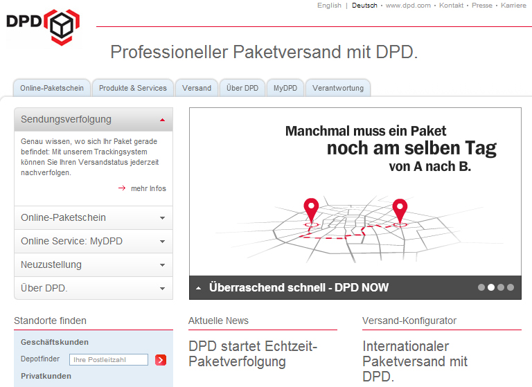 dpd launcht paket live tracking in deutschland und will lieferzeitpunkt pr zisieren location. Black Bedroom Furniture Sets. Home Design Ideas