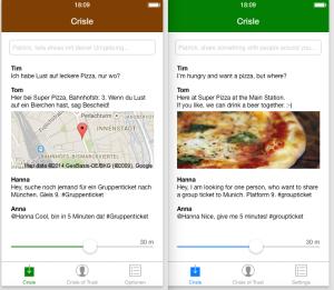 Entwurf von  Patrick Gabler: So könnte das App Interface aussehen.