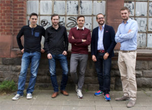 Brdge-Team: Torben Toepper (Lead Developer Backend), Garrit Schaap (CTO), Jan Pleser (CMO), Claas Nieraad (Co-Founder), Daniel Putsche (CEO)