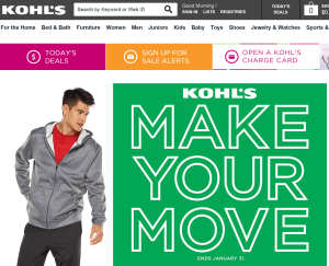 Kohl's Webseite