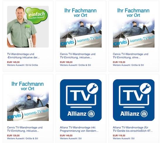 TV-Services werden bei Amazon.de derzeit von AGA, Cervis und Einfach-machen-lassen angeboten