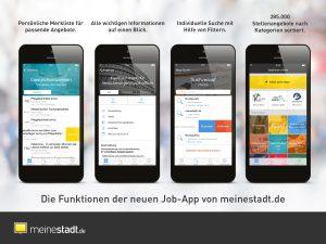 Die Funktioenn der neuen Job-App von meinestadt.de