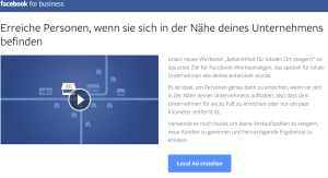 Facebook for business - SH Webseite - Local Awareness Ads - Lokale Werbung