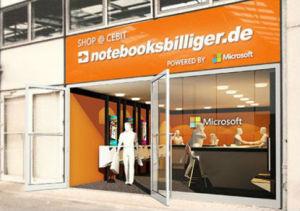 Der temporäre Store von Notebooksbilliger.de auf der CeBIT