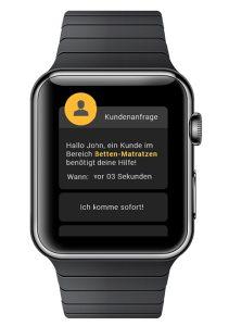 So könnte Store Analytics auf der Verkäufer-Apple Watch aussehen
