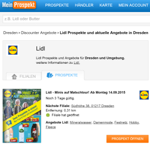 Meinprospekt Screenshot Webseite Lidl-Suche