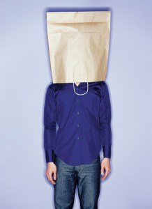 Man with shopping bag on head