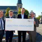 """Die Partner hinter """"Mönchengladbach bei eBay"""": Professor Heinemann, Wirtschaftsförderer Schueckhaus, eBay-Chef Zoll und Bürgermeister Reiners"""