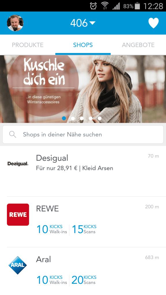 Shopkick mit Rewe und Aral