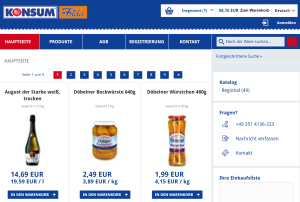 Konsum Dresden Frida Screenshot Online-Shop