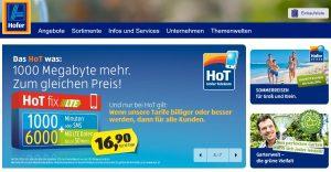 Hofer Webseite Screenshot