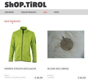 shop.tirol Screenshot Webseite