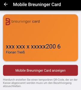 Mobile Kundenkarte von Breuninger für Mobile Payment