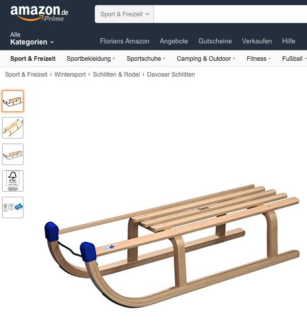 Schlitten bei Amazon